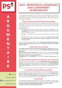 ARGUMENTAIRE - BILAN DE LA DELINQUANCE 2015