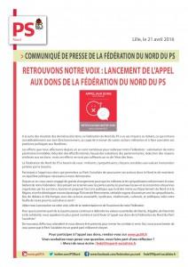 COMMUNIQUE DE PRESSE DE LA FEDERATION DU NORD DU PS (21 AVRIL 2016)