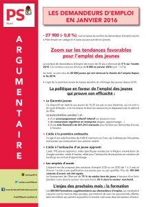 ARGUMENTAIRE - LES DEMANDEURS D'EMPLOI EN JANVIER 2016