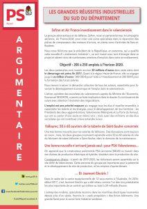 ARGUMENTAIRE - LES GRANDES REUSSITES INDUSTRIELLES DU SUD DU DEPARTEMENT