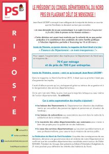 RIPOSTE - LE PRESIDENT DU CONSEIL DEPARTEMENTAL DU NORD PRIS EN FLAGRANT DELIT DE MENSONGE !