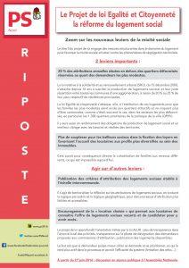 RIPOSTE - LE PROJET DE LOI EGALITE ET CITOYENNETE LA REFORME DU LOGEMENT SOCIAL